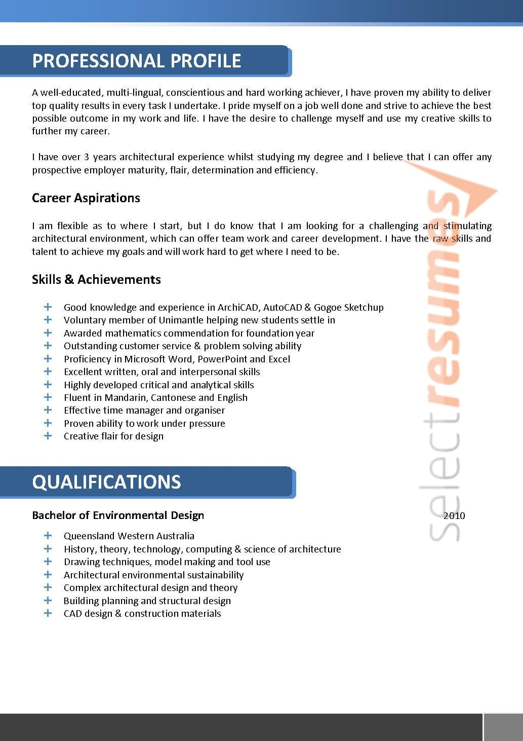 Architect Resume 066 - Select Resumes